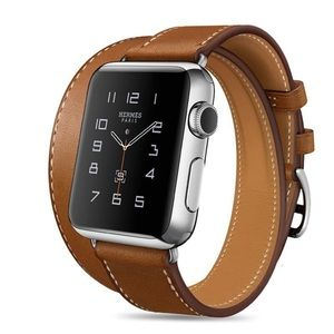 Leather Double Tour Brown Watchband for Apple